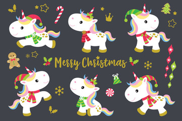 Cute Christmas unicorns vector illustration set plus other decorative Christmas ornaments.