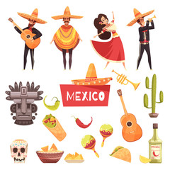 Mexico Decorative Icons Set