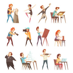 Creative Professions Cartoon Icons Set