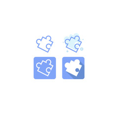 All Possible Shapes of Jigsaw Pieces blue icon set design. on white background. vector illustration. logo. web. Symbols