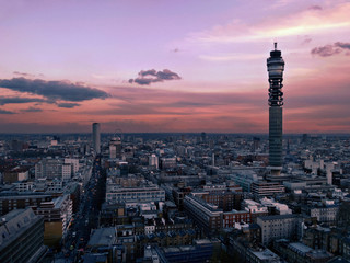 View over Central London at dusk looking down Tottenham Court Road including the PO BT Tower Fototapete