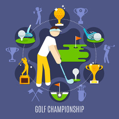 Wall Mural - Golf Championship Round Composition