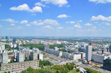 View on city and old town from Palace of Culture - Warsaw Poland