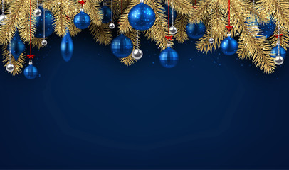 Blue Christmas background with spruce branches.