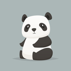 Cute panda vector isolated illustration