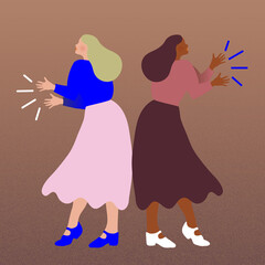 Two women dancing and clapping hands