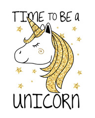 Unicorn with gold glitter hair and horn