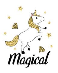 Gold glitter unicorn isolated on white background
