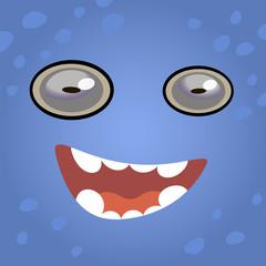 Cartoon face of a monster. Vector illustration.