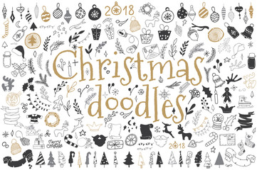 Big set of Christmas design elements in doodle style