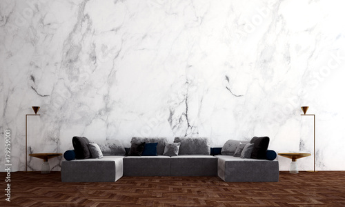 The Luxury Living Room Interior Design And Marble Wall Background