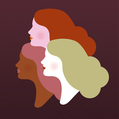 Silhouette of three women