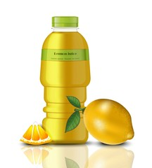 Lemon Juice bottle package mock up. Realistic Vector Fresh natural drink. Realistic products with detailed fruits