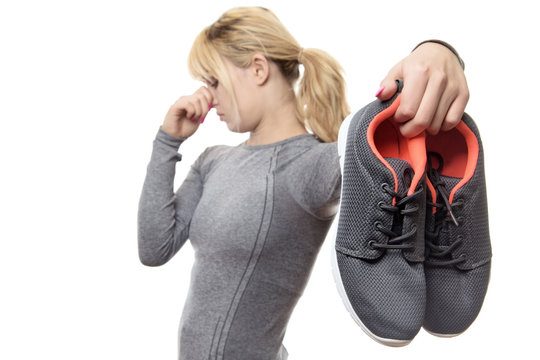 woman with smelly shoes
