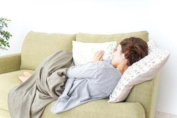 sleeping woman at home