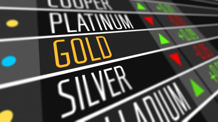 Global gold price on the stock market as financial concept.