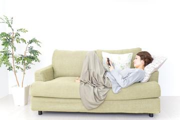 lying woman using smartphone