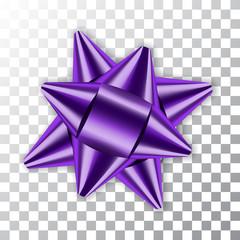Purple bow ribbon decor. 3D element package Shiny satin decoration gift present isolated white transparent background. Christmas New Year celebration, holiday design Vector illustration