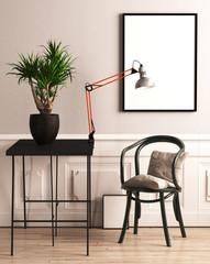 Stuhl mit Kissen, Pflanze und Bilderrahmen vor beigefarbener Wand