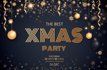 Merry Christmas and Happy New Year 2018. Invitation to a party. Gold and black colors. Place for text Christmas decorations, star balls. Leaflet brochure. Vector illustration