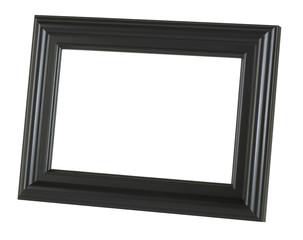A black picture frame tilted