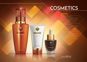 Cosmetics Vector realistic package ads template. Face cream and hair products bottles. Mockup 3D illustration. Abstract backgrounds
