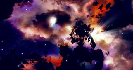 Galactic nebula. Artistic visualization.