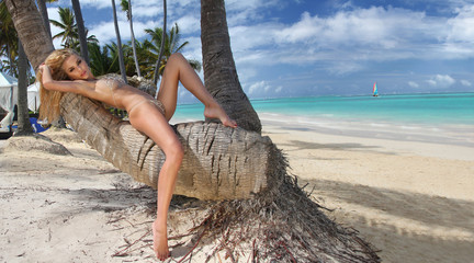 Beautiful young very sexy blond hair female model amazing girl lies on an old tree on the palm tree with an amazing view of the  sea  in the fleshy nude erotic crystal lingerie with long shapely legs
