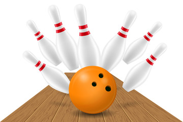 bowling ball and pin vector illustration