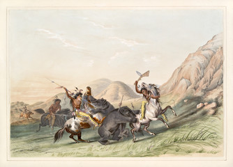 Native indian hunters kills a grizzly bear on a grassland close to some rocks. Old watercolor illustration by G. Catlin, Catlin's North American Indian Portfolio, Ackerman, New York, 1845