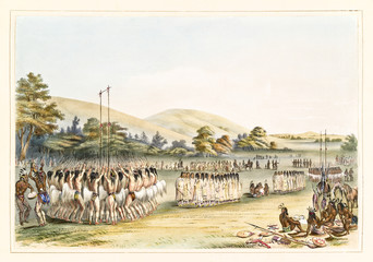 Native indian people doing the ritual of Ball-play dance on a vast grassland. Old watercolor illustration by G. Catlin, Catlin's North American Indian Portfolio, Ackerman, New York, 1845