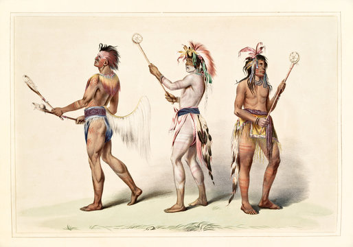 Native indian guys dressing the ball player traditional costumes. Old watercolor illustration by G. Catlin, Catlin's North American Indian Portfolio, Ackerman, New York, 1845