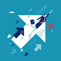 Upwards. Businesswoman flying between ascending arrow symbols. Concept business illustration.