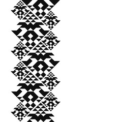Tribal card in american indian style. Seamless border for design. Ethnic tiled ornament on white background. Navajo triangle tiles.