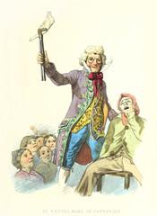 Carnival parody illustration of a dentist extracting the whole jaw. Old illustration by F. Palizzi and Cucinotta, De Bourcard, Usi e Costumi di Napoli E Contorni Dipinti E Descritti, 1853-58.