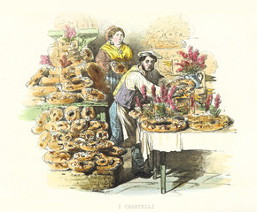 Seller shows his casatielli exposition (traditional Neapolitan food). Old illustration by F. Palizzi and Cucinotta, Ed. Nobile, Napoli, 1853-58.