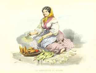 Poor woman selling corn cobs on street. Old illustration by F. Palizzi and Cucinotta, De Bourcard, Usi e Costumi di Napoli E Contorni Dipinti E Descritti, Ed. Nobile, Napoli, 1853-58.