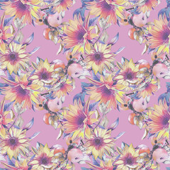 Seamless pattern with sunflowers and apples. Autumn  watercolor background.