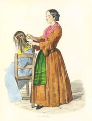 Ancient hair stylist combing hair of a girl seated on a chair. By F. Palizzi, De Bourcard, Usi e Costumi di Napoli e contorni dipinti e descritti, Nobile, Napoli, 1853-58