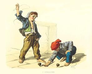 Ancient kids playing outdoor with spinning tops. By F. Palizzi, Usi e Costumi di Napoli e contorni dipinti e descritti, Nobile, Napoli, 1853-58