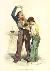two poor boys eating pasta using their hands. By F. Palizzi and Cucinotta, Usi e Costumi di Napoli e contorni dipinti e descritti, Nobile, Napoli, 1853-58