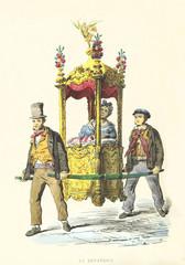 Midwife carried in a rich decorated sedan chair by two ancient dressed men. By Mattei and Oruvasfan, Usi e Costumi di Napoli e contorni dipinti e descritti, Nobile, Napoli, 1853-58