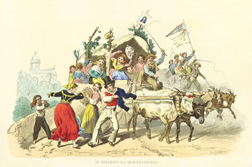 Jubilant pilgrims coming back from Montevergine sanctuary singing and dancing. Old illustration by F. Palizzi, Usi e Costumi di Napoli e contorni dipinti e descritti, Nobile, Napoli, 1853-58