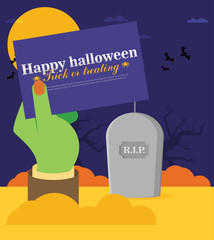 Tomb Stone Zombie Hand From Ground Flat Vector Illustration Halloween Banner
