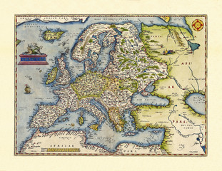 Old map of Europa. Excellent state of preservation realized in ancient style. All the graphic composition inside a frame. By Ortelius, Theatrum Orbis Terrarum, Antwerp, 1570
