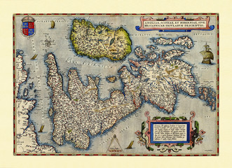 Old map of Great Britain. Excellent state of preservation realized in ancient style. All the graphic composition inside a frame. By Ortelius, Theatrum Orbis Terrarum, Antwerp, 1570