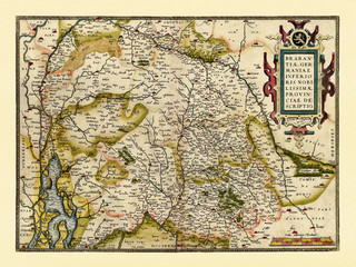 Old map of Belgium and Netherlands. Excellent state of preservation realized in ancient style. All the graphic composition is inside a frame. By Ortelius, Theatrum Orbis Terrarum, Antwerp, 1570