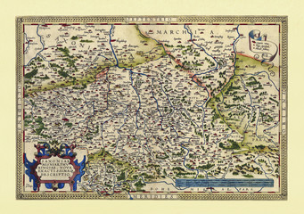 Old map of Thuringia and Saxony. Excellent state of preservation realized in ancient style. All the graphic composition is inside a frame. By Ortelius, Theatrum Orbis Terrarum, Antwerp, 1570