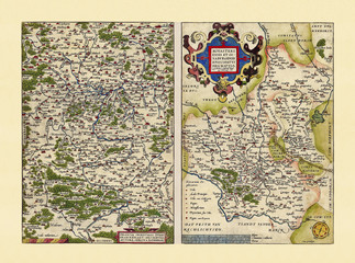 Old maps of Westphalia and Bavaria. Excellent state of preservation realized in ancient style. Side by side graphic composition. By Ortelius, Theatrum Orbis Terrarum, Antwerp, 1570