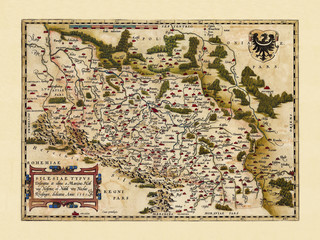 Old map of Polonia. Excellent state of preservation realized in ancient style. All the graphic composition is inside a frame. By Ortelius, Theatrum Orbis Terrarum, Antwerp, 1570